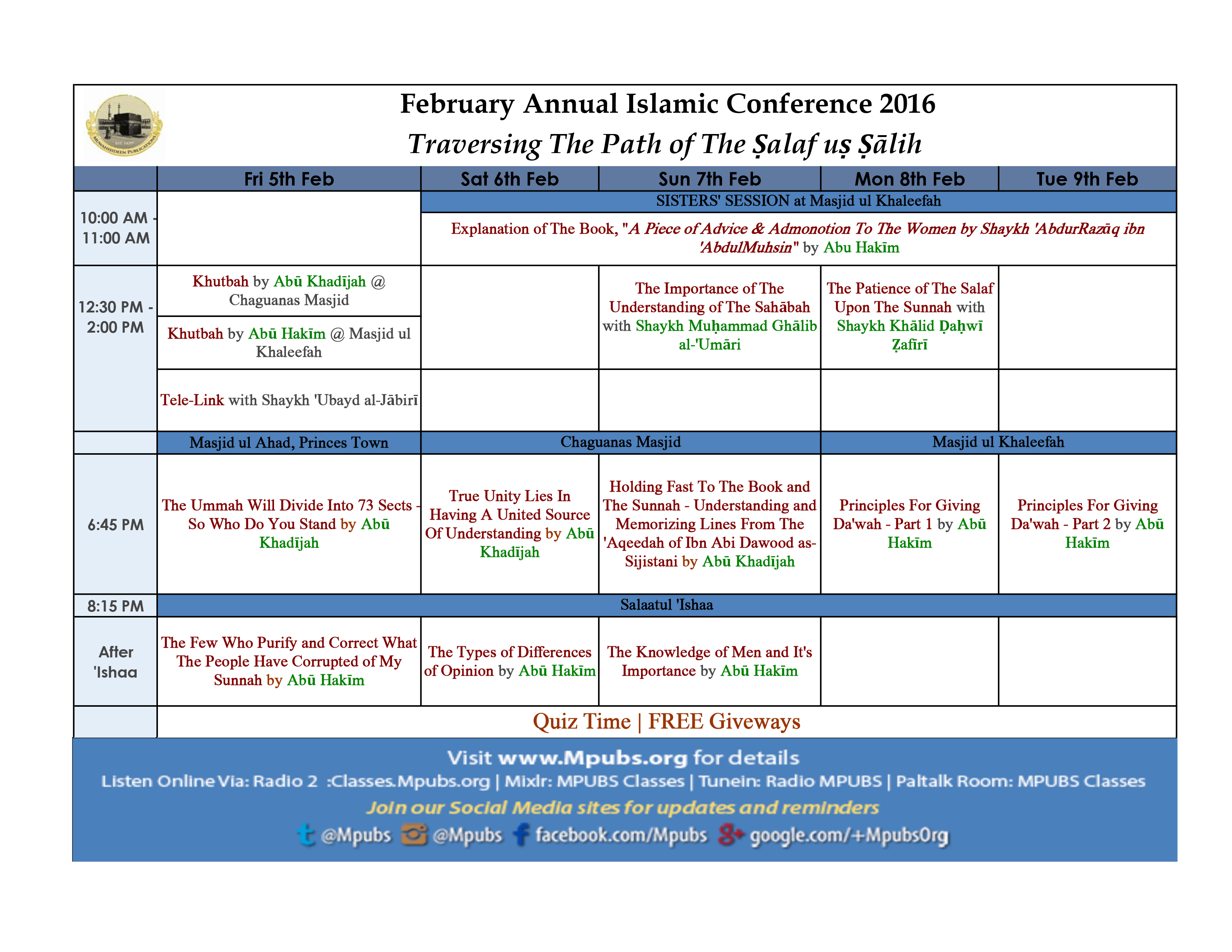 Conference 20160205 traversing the path of the salaf schedule