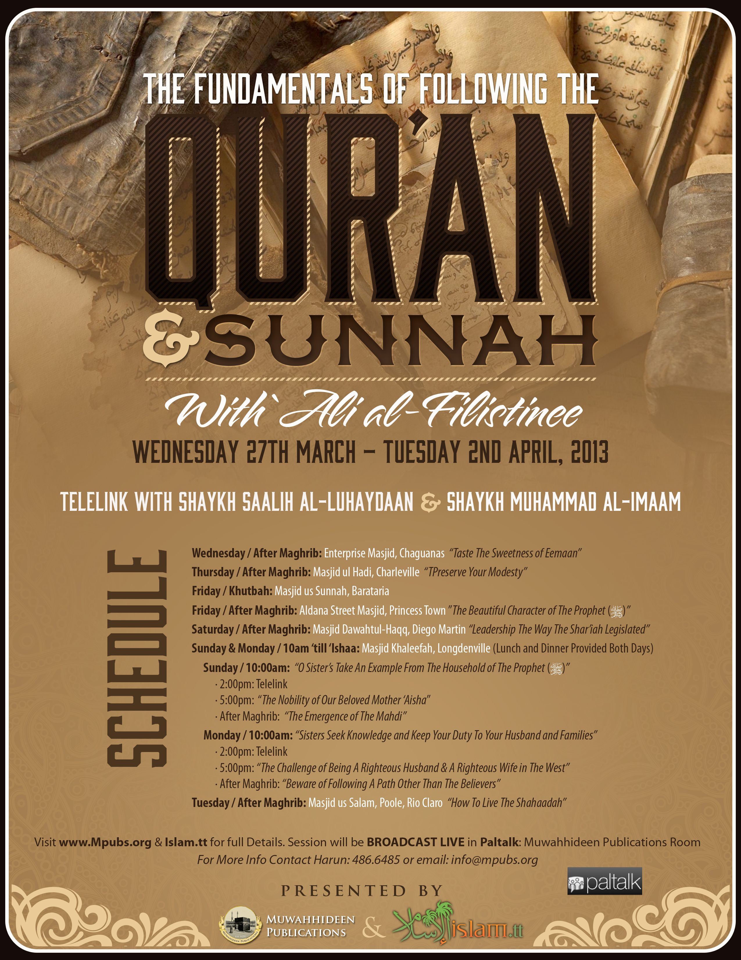 Seminar 20130328 easter fundamentals of quraan and sunnah