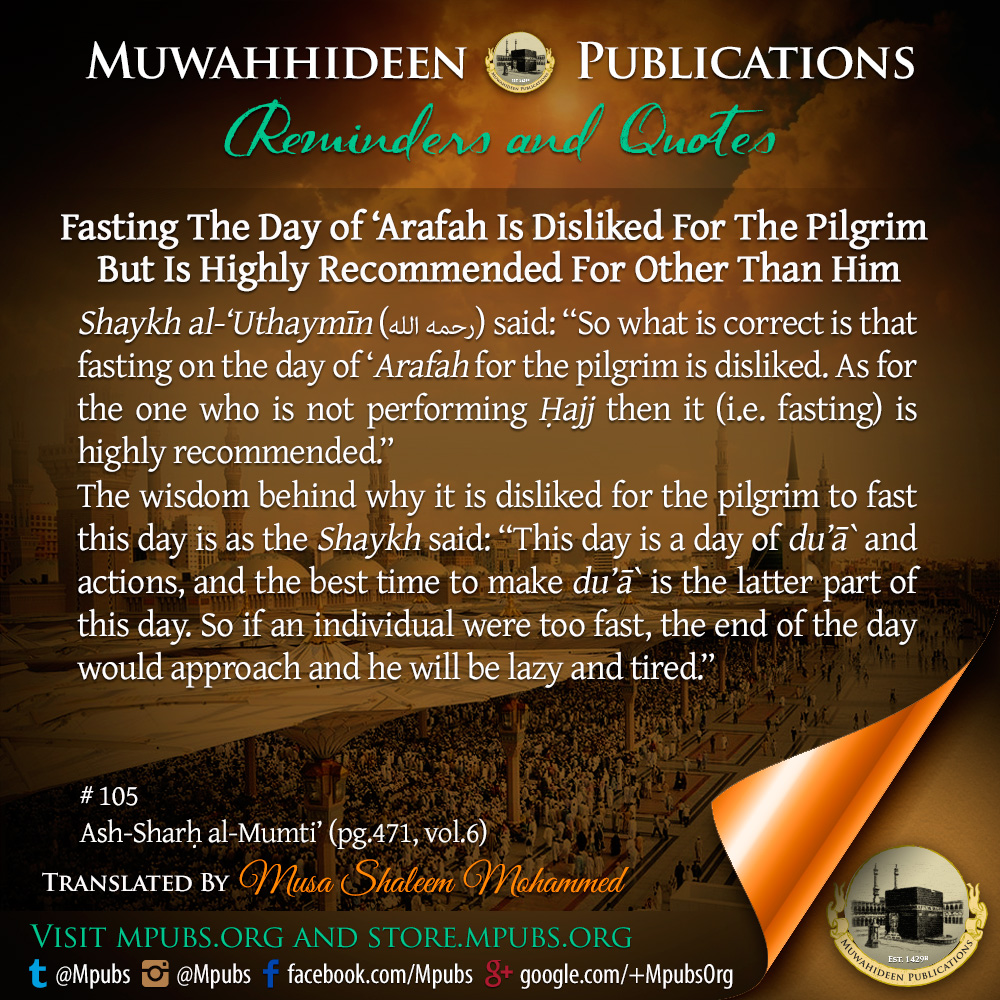 quote0105 fasting the day of arafah for the pilgrim is disliked eng
