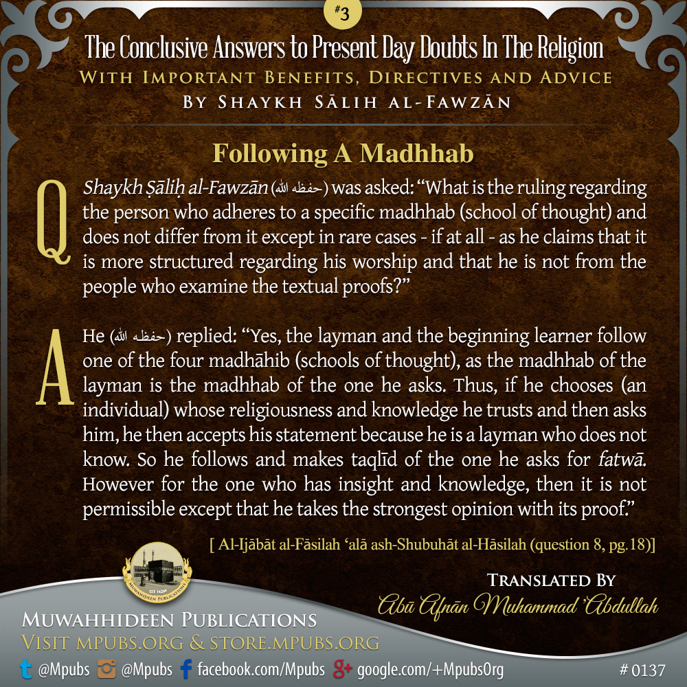 quote0137 concise answers to present day doubts 03 following a madhhab eng