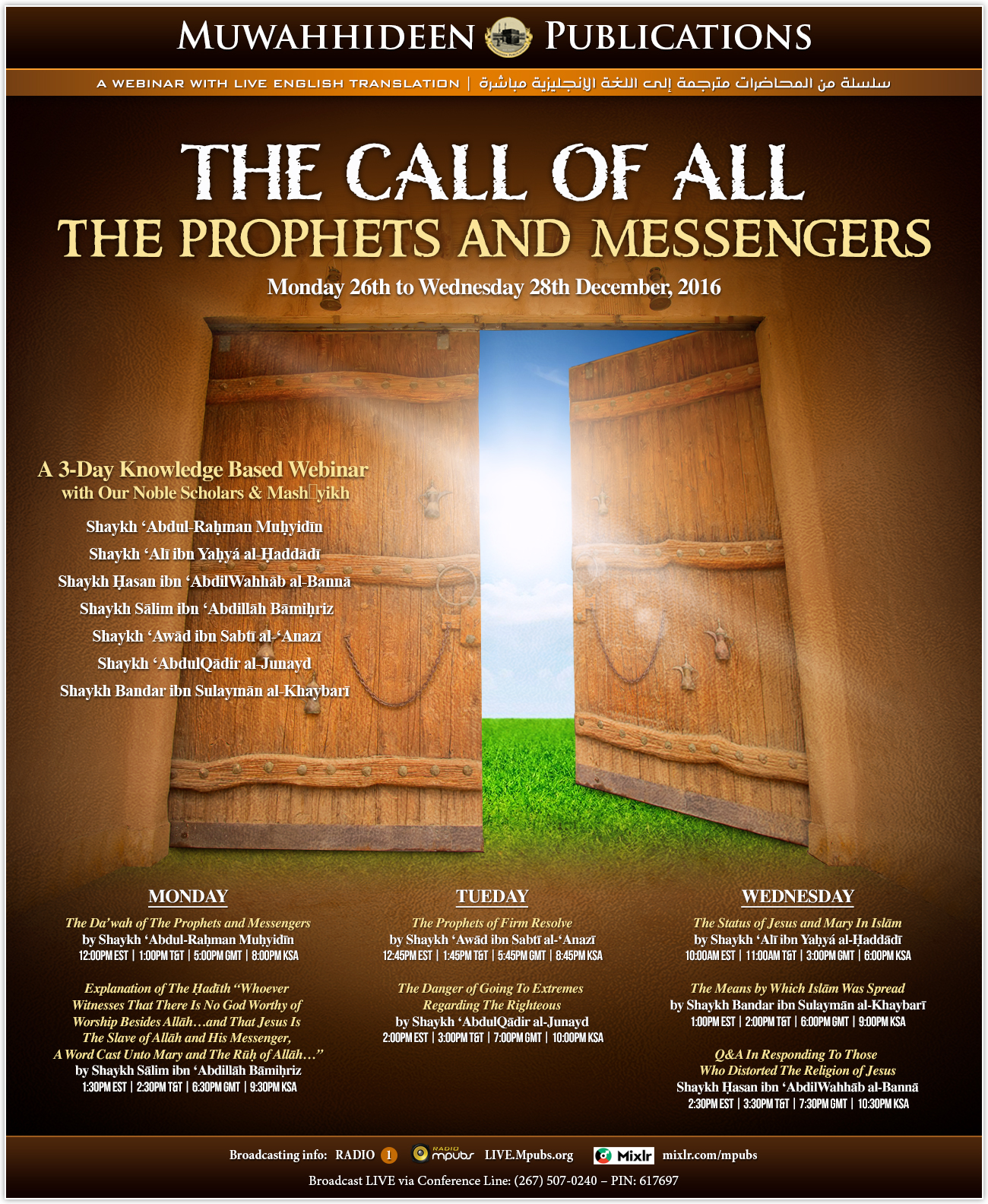 3-Day Webinar with The Scholars and Mashaayikh