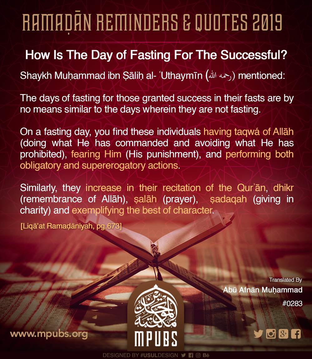 quote0283 ramadhaan reminders 2019 how is the day of fasting for the successful eng