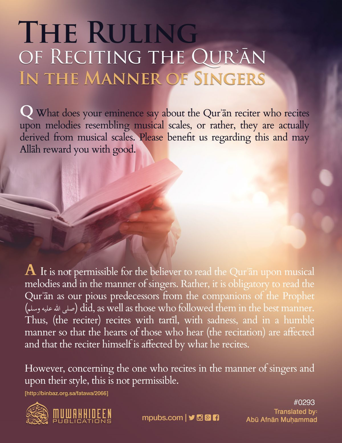 quote0293 the ruling of reciting the quraan in the manner of singers eng